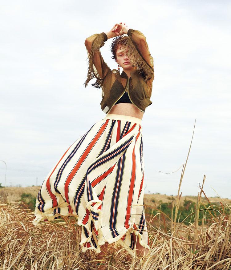 MURUAの名品フリンジブルゾン イレヘムLongスカート